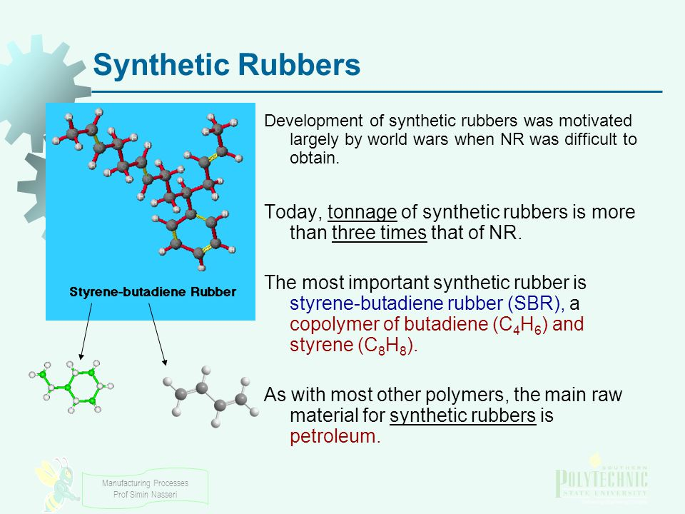 Synthetic Rubbers Development of synthetic rubbers was motivated largely by world wars when NR was difficult to obtain.