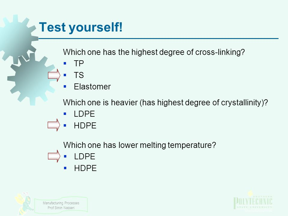 Test yourself! Which one has the highest degree of cross-linking TP