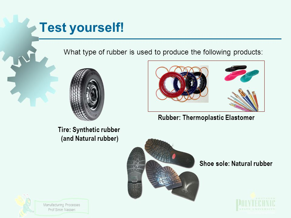 Test yourself! What type of rubber is used to produce the following products: Rubber: Thermoplastic Elastomer.