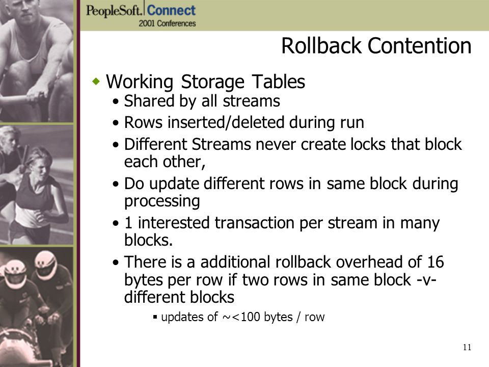 Rollback Contention Working Storage Tables Shared by all streams