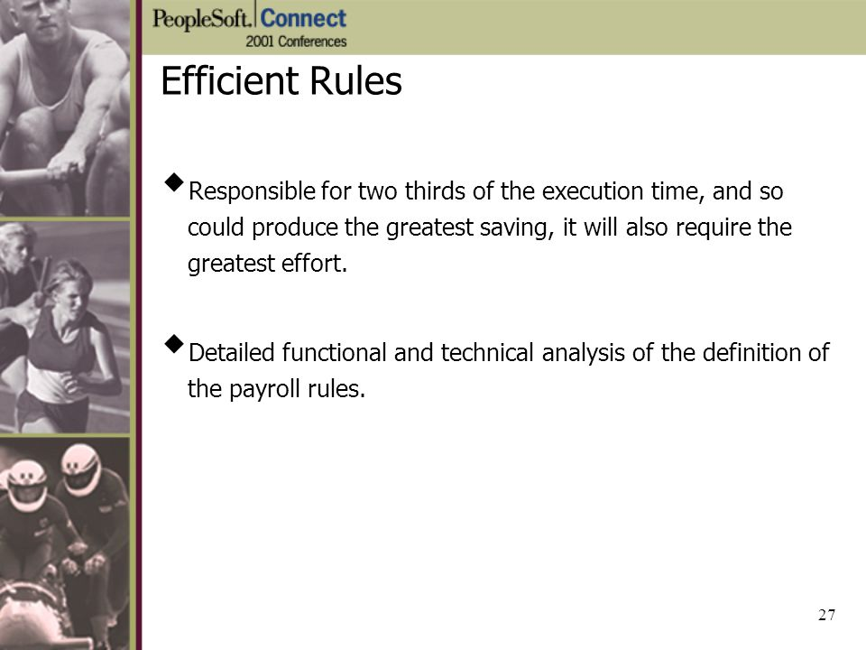 Efficient Rules Responsible for two thirds of the execution time, and so could produce the greatest saving, it will also require the greatest effort.