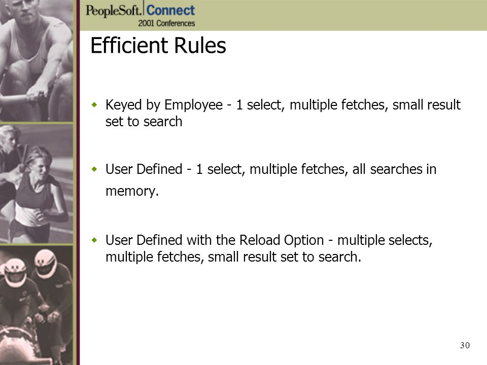 Efficient Rules Keyed by Employee - 1 select, multiple fetches, small result set to search.