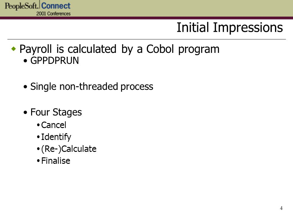 Initial Impressions Payroll is calculated by a Cobol program GPPDPRUN