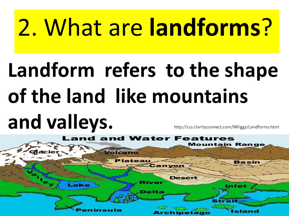 2. What are landforms Landform refers to the shape of the land like mountains and valleys.
