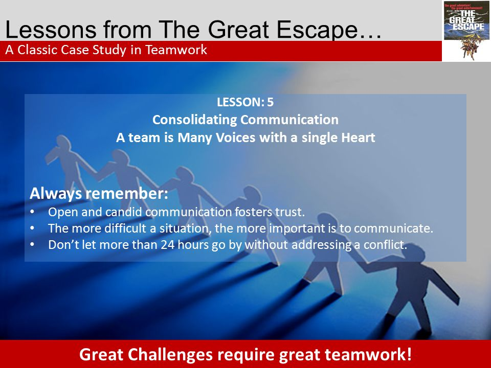 Lessons from The Great Escape…