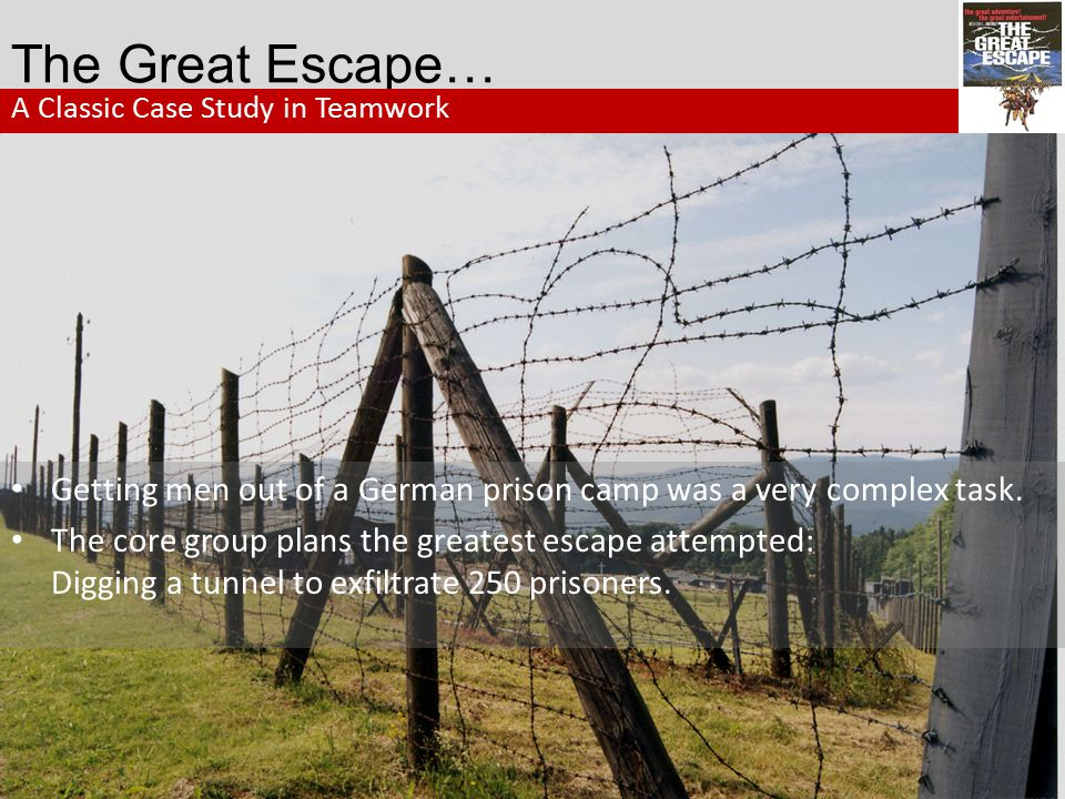The Great Escape… A Classic Case Study in Teamwork. Getting men out of a German prison camp was a very complex task.