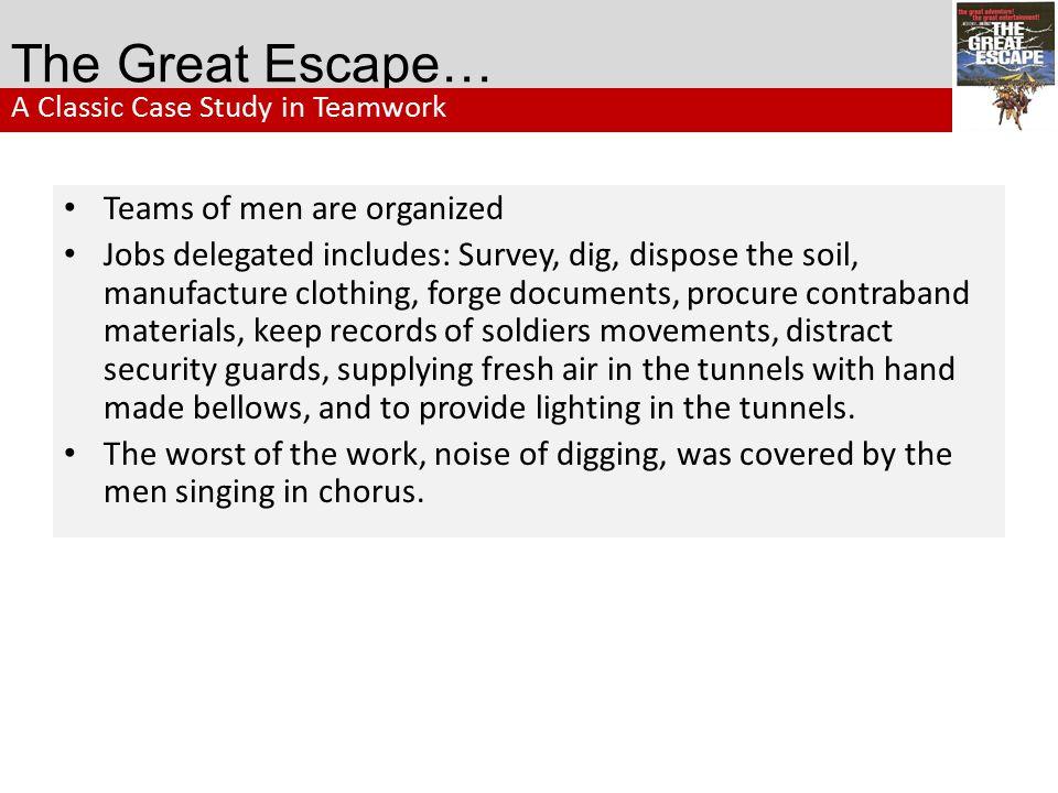 The Great Escape… Teams of men are organized