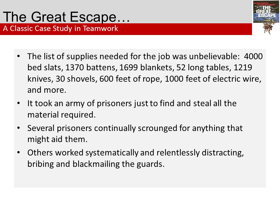 The Great Escape… A Classic Case Study in Teamwork.