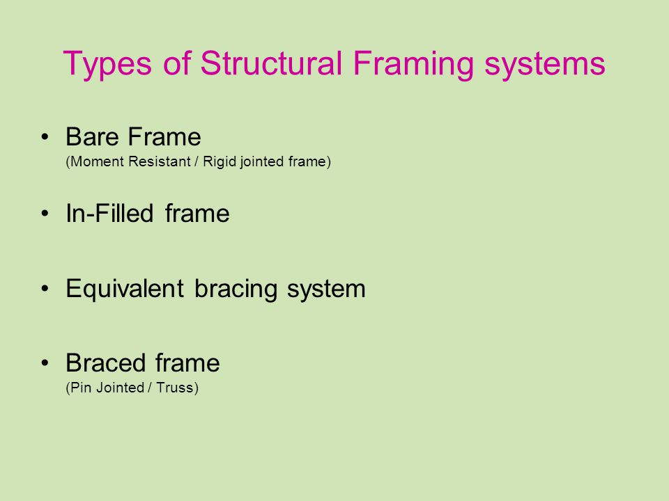 Types of Structural Framing systems