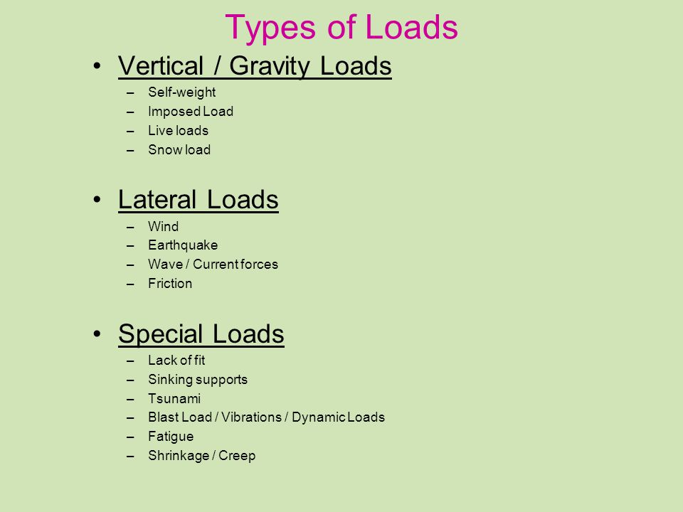 Types of Loads Vertical / Gravity Loads Lateral Loads Special Loads