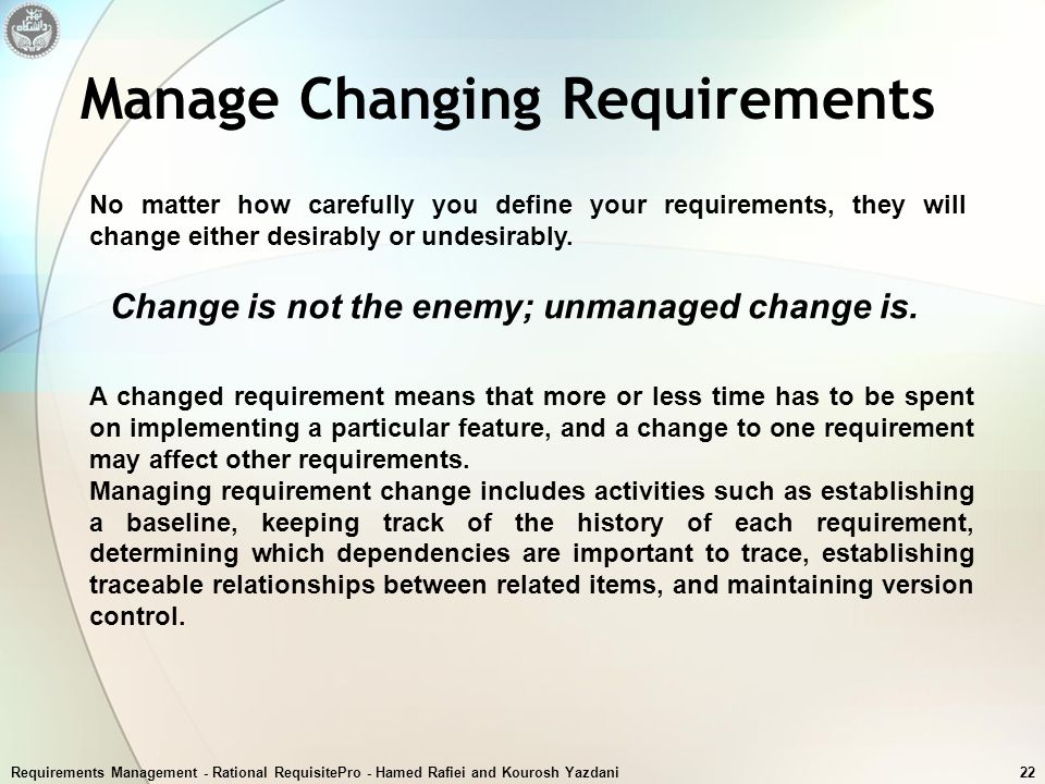 Manage Changing Requirements