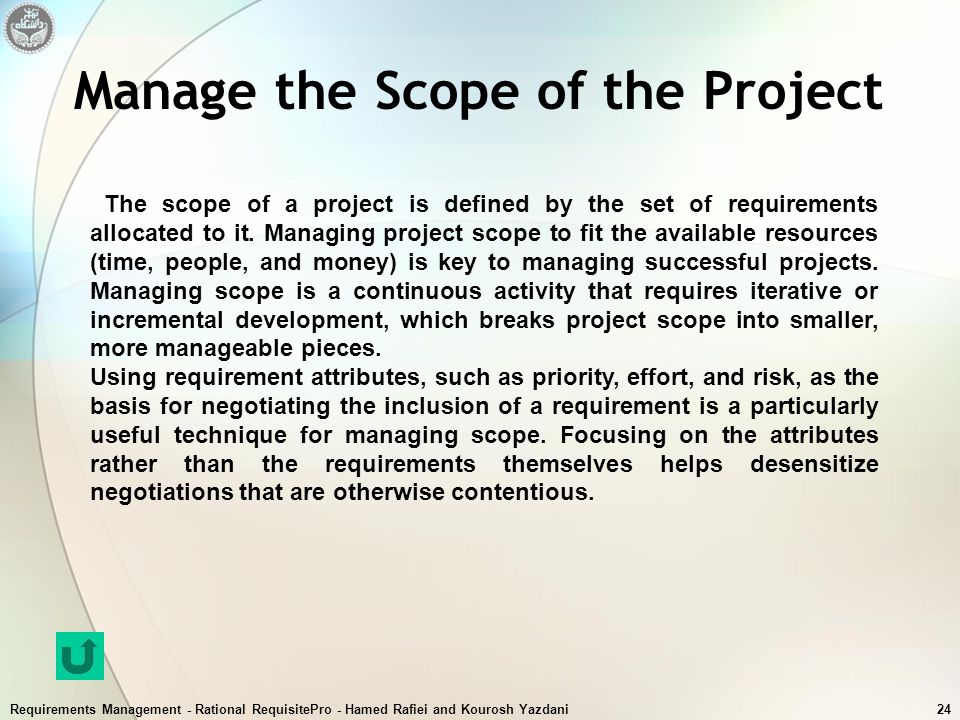 Manage the Scope of the Project
