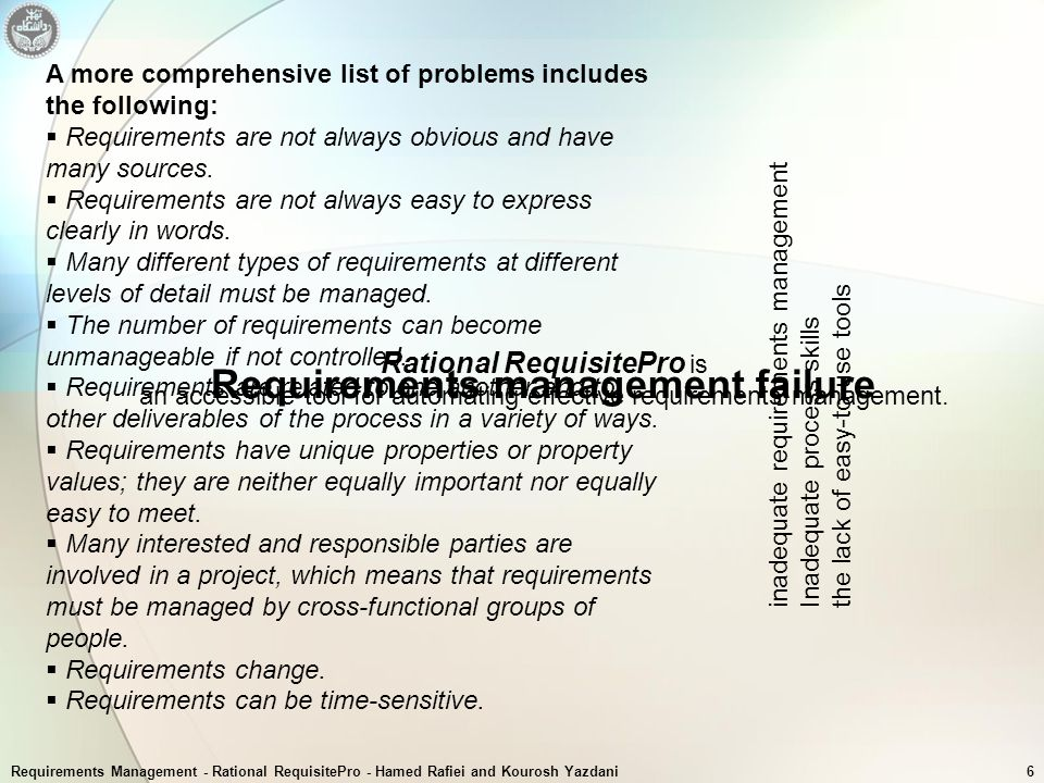 Requirements management failure