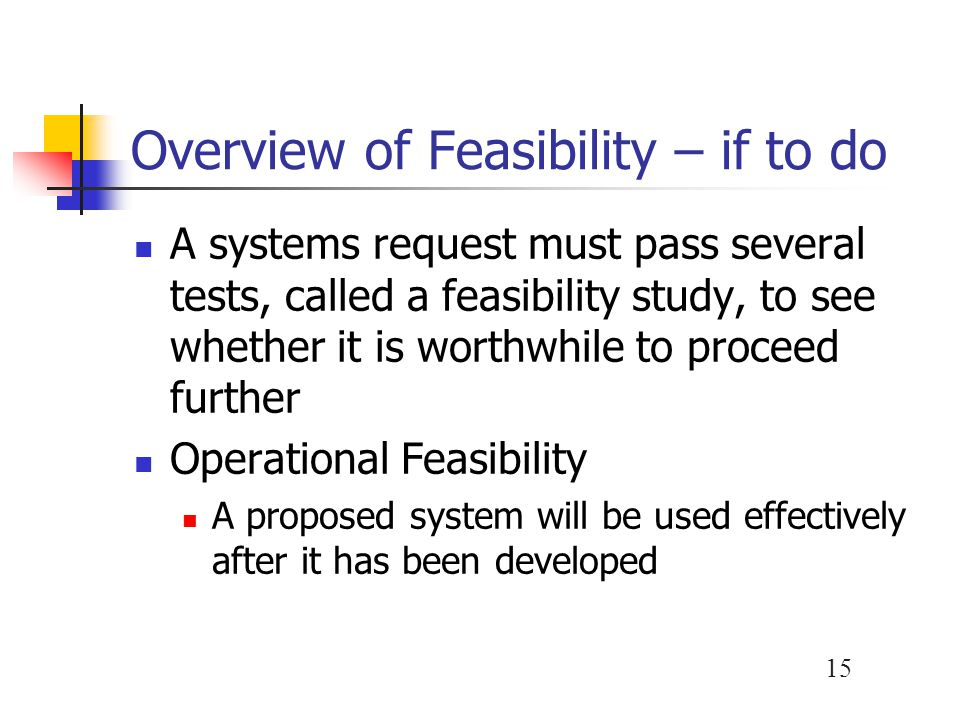 Overview of Feasibility – if to do