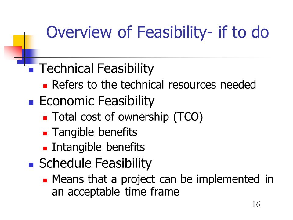 Overview of Feasibility- if to do