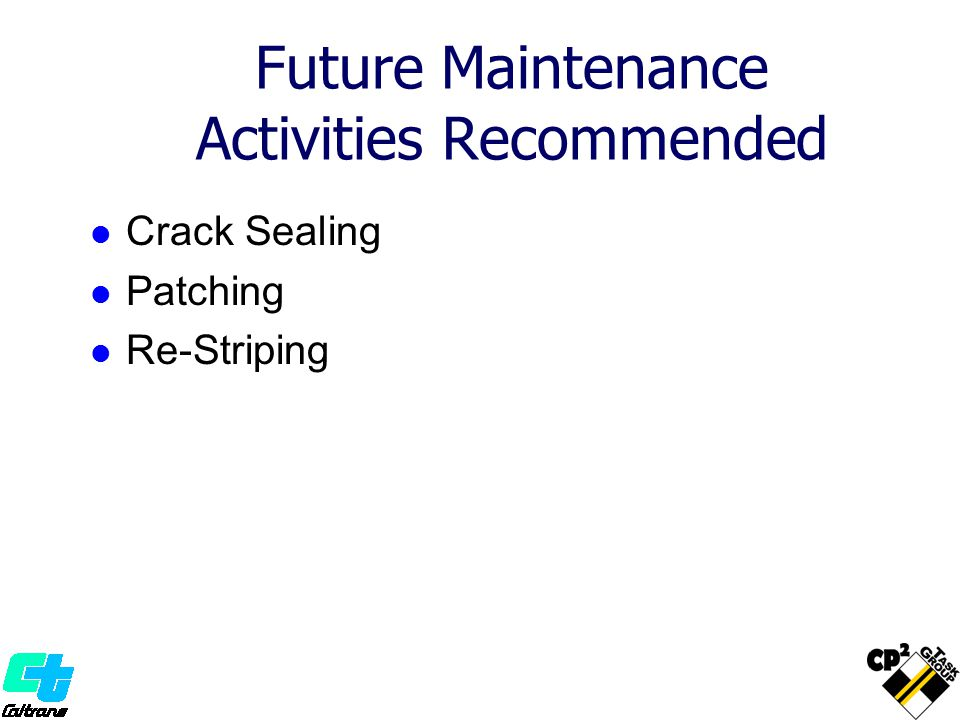 Future Maintenance Activities Recommended