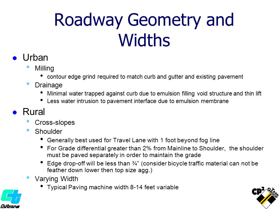 Roadway Geometry and Widths