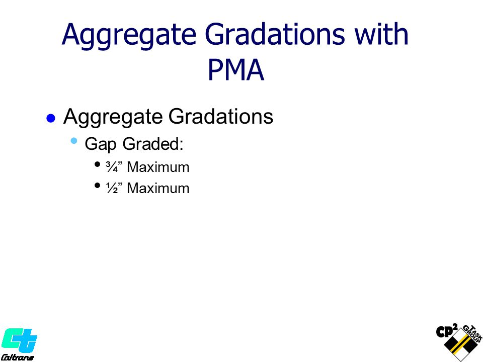 Aggregate Gradations with PMA