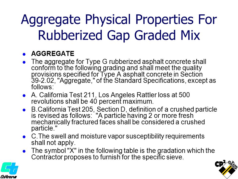 Aggregate Physical Properties For Rubberized Gap Graded Mix
