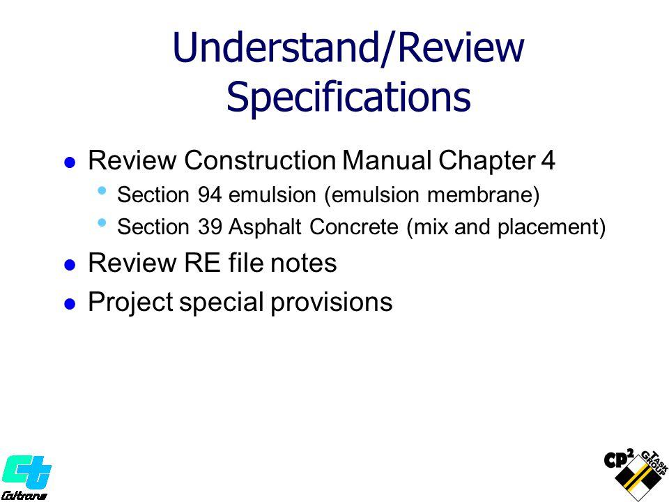 Understand/Review Specifications