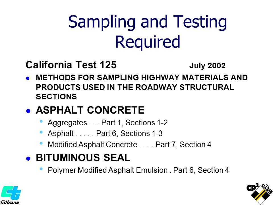 Sampling and Testing Required