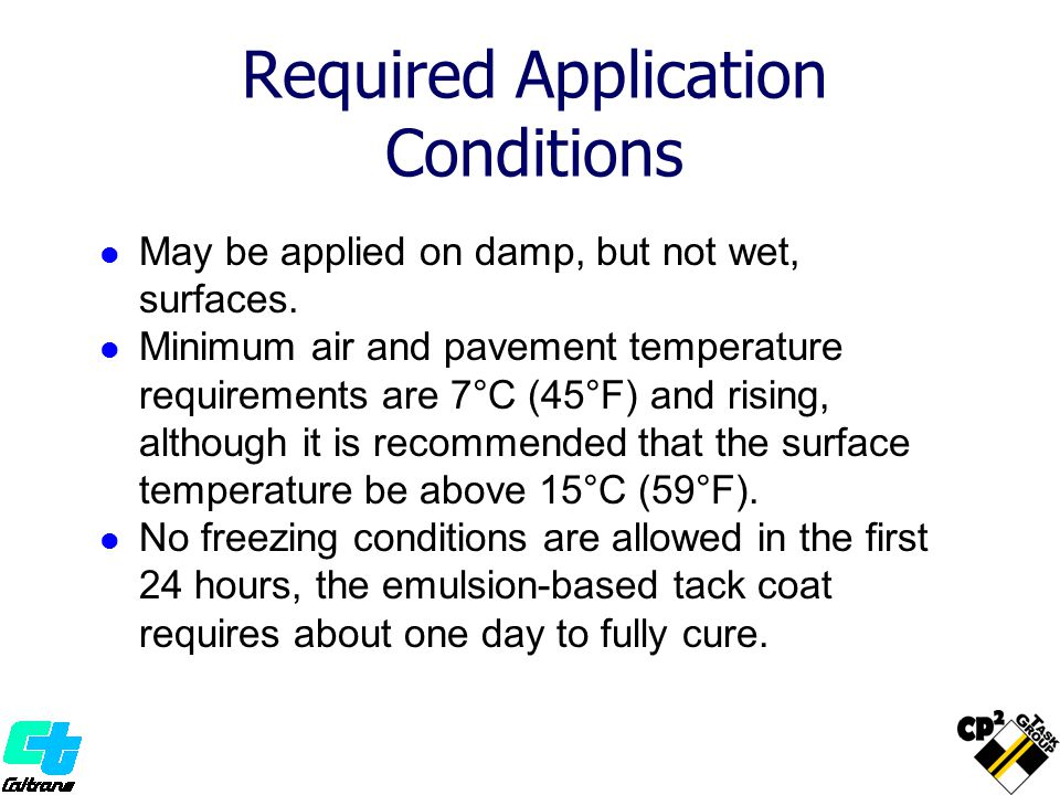 Required Application Conditions