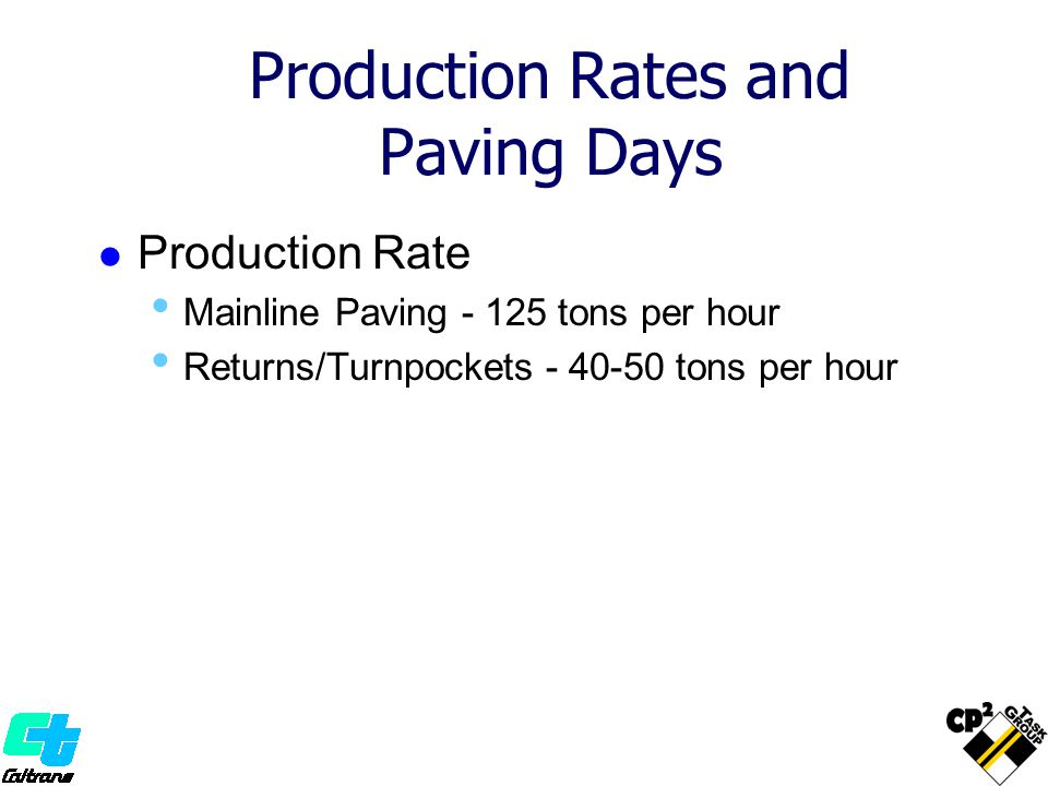 Production Rates and Paving Days
