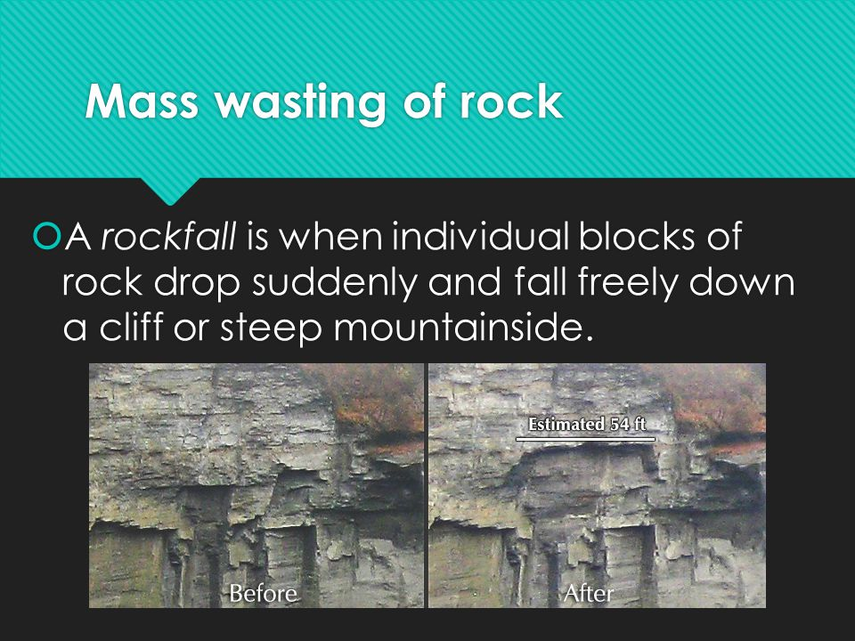 Mass wasting of rock A rockfall is when individual blocks of rock drop suddenly and fall freely down a cliff or steep mountainside.