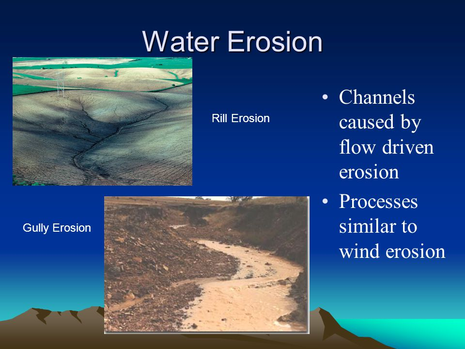 Water Erosion Channels caused by flow driven erosion