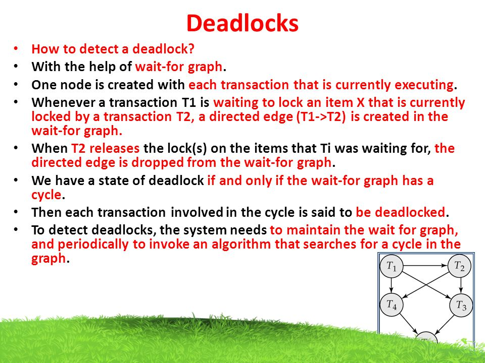 Deadlocks How to detect a deadlock With the help of wait-for graph.