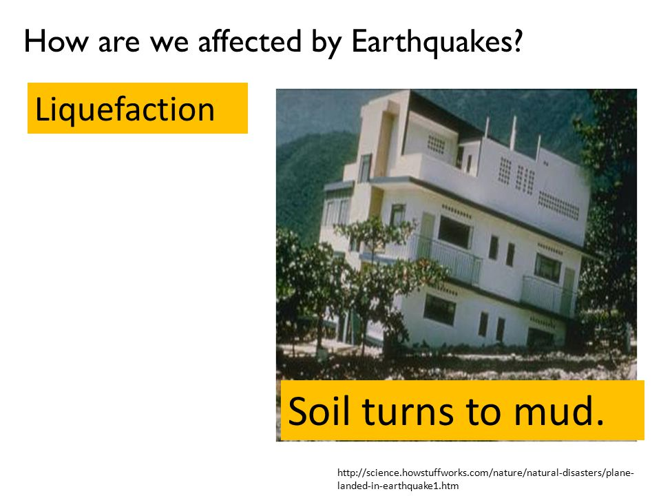 Soil turns to mud. Liquefaction How are we affected by Earthquakes