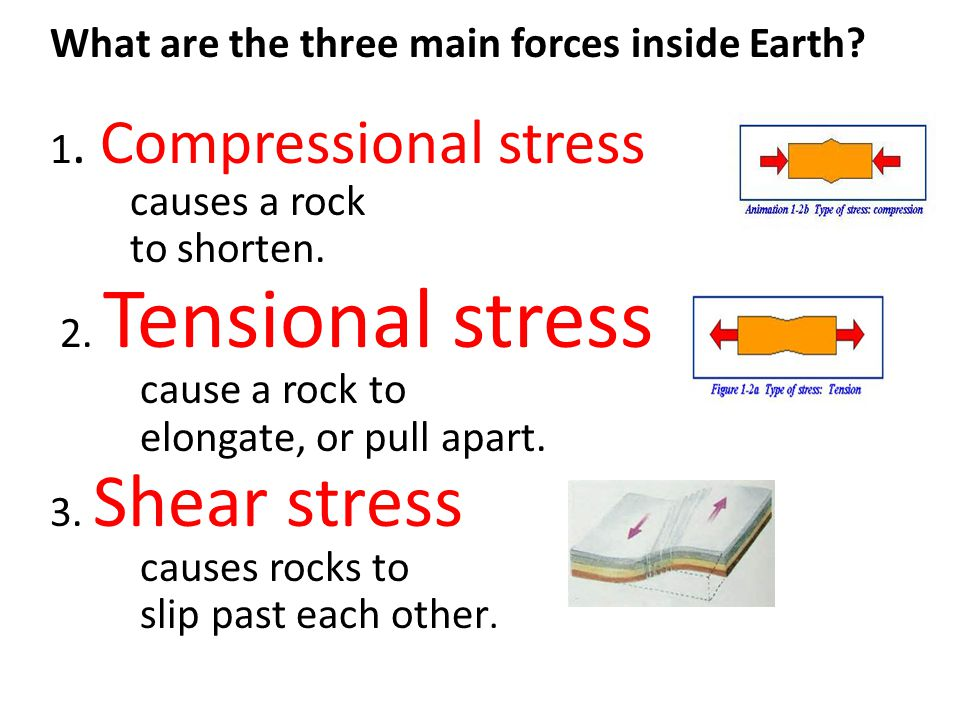 What are the three main forces inside Earth 1. Compressional stress