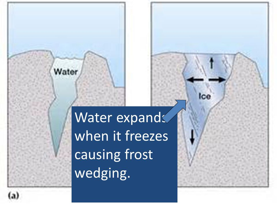 Water expands when it freezes causing frost wedging.