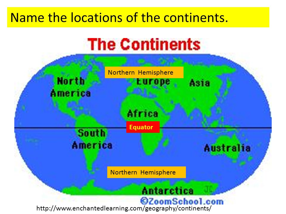 Name the locations of the continents.