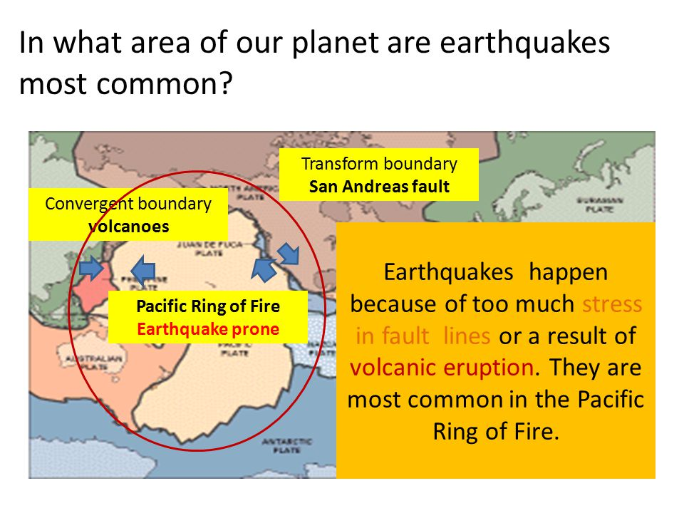 In what area of our planet are earthquakes most common