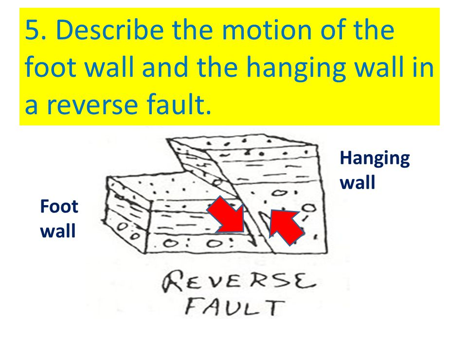 5. Describe the motion of the foot wall and the hanging wall in a reverse fault.