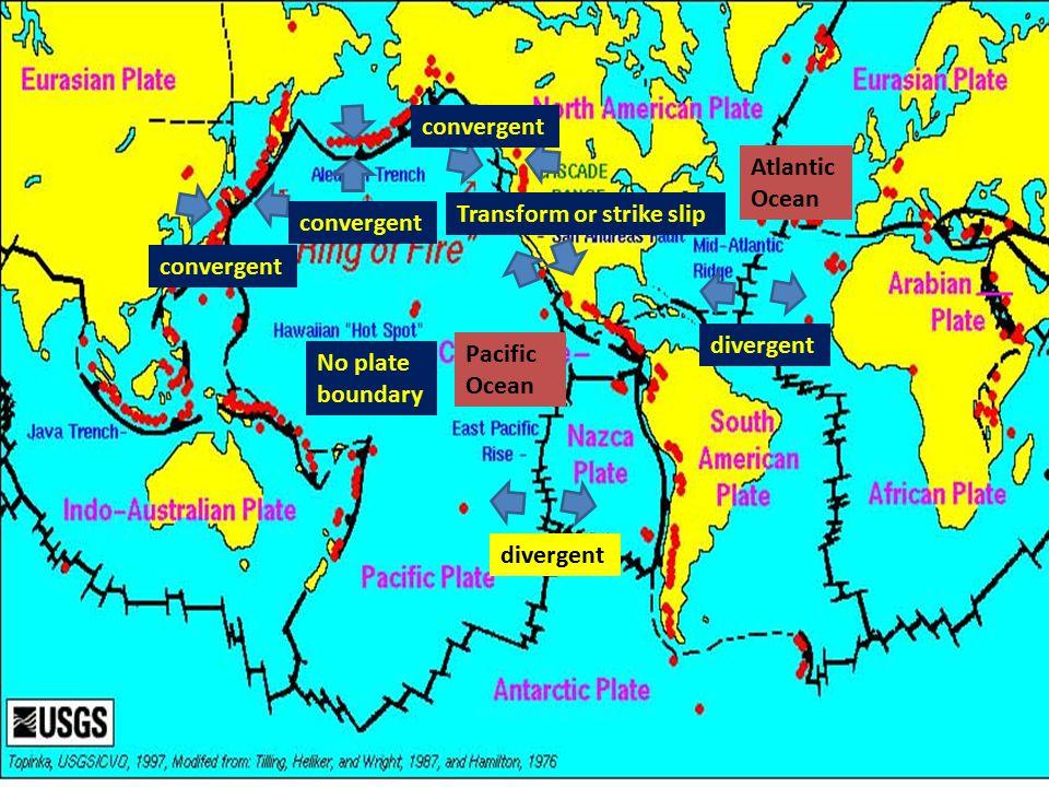 convergent Atlantic Ocean. Transform or strike slip. convergent. convergent. divergent. Pacific Ocean.