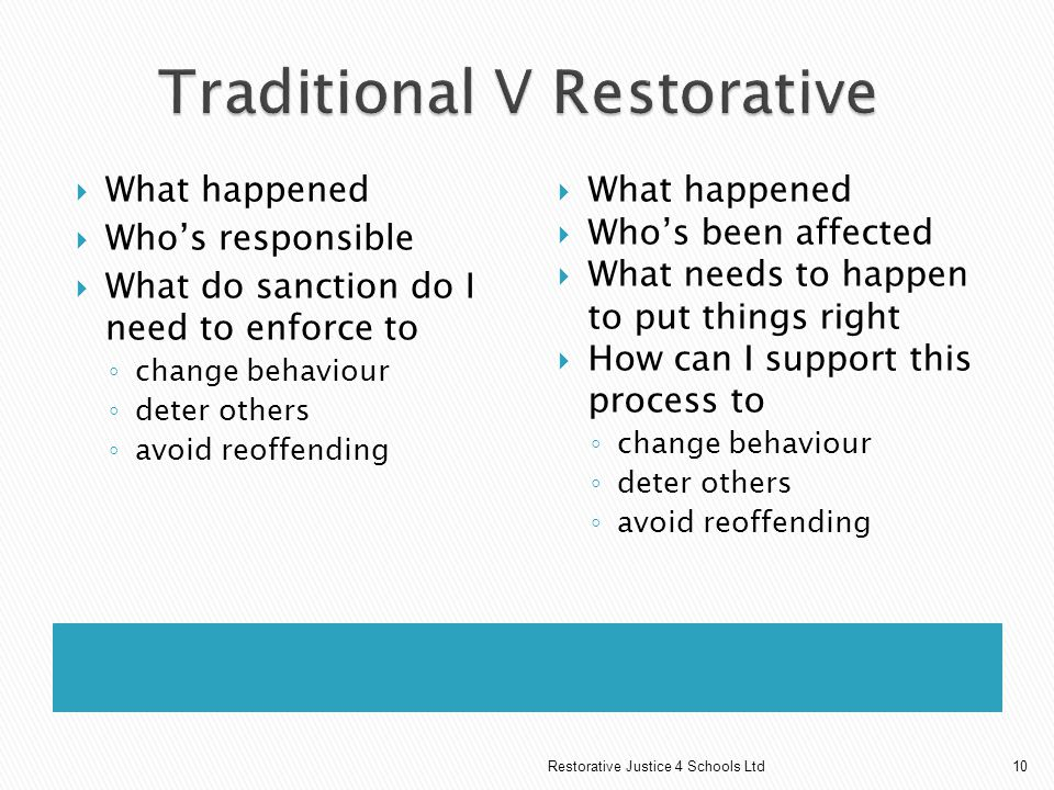 Traditional V Restorative