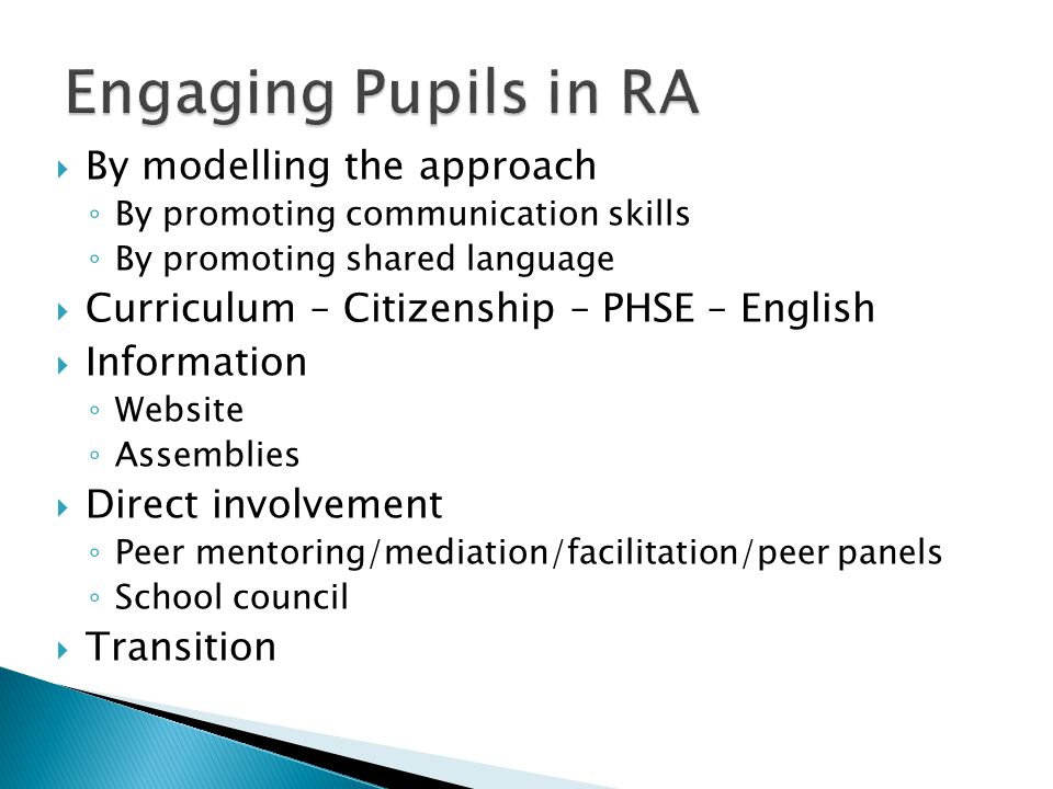 Engaging Pupils in RA By modelling the approach