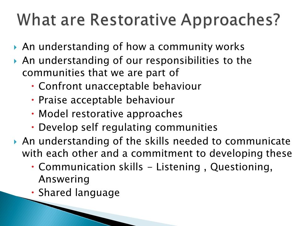 What are Restorative Approaches