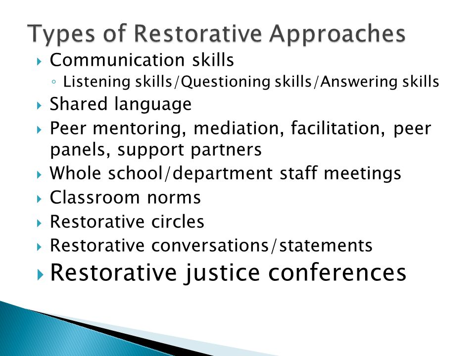 Types of Restorative Approaches