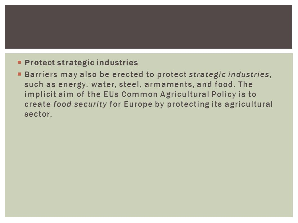 Protect strategic industries