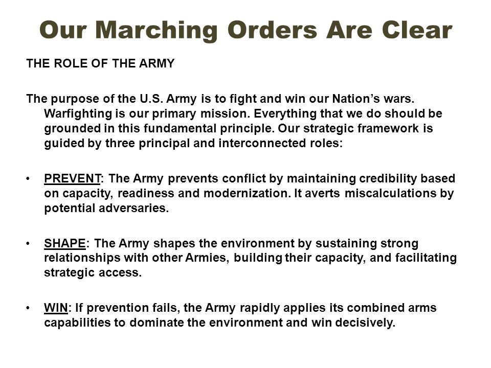 Our Marching Orders Are Clear