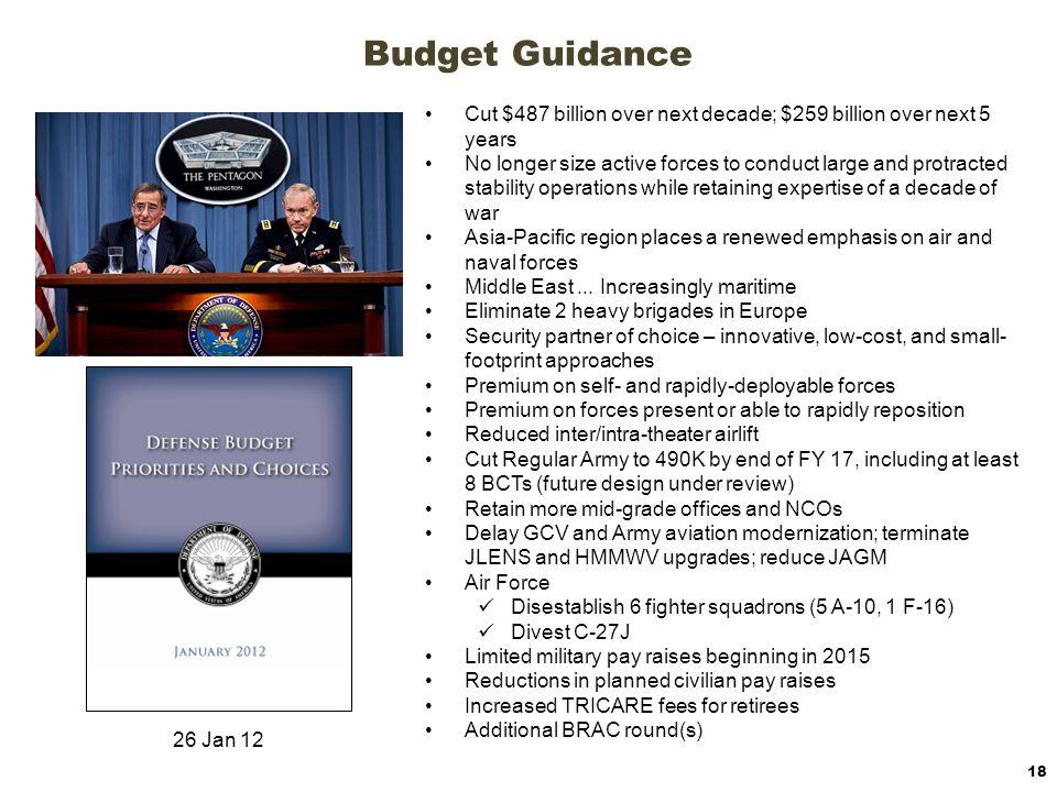 Budget Guidance Cut $487 billion over next decade; $259 billion over next 5 years.