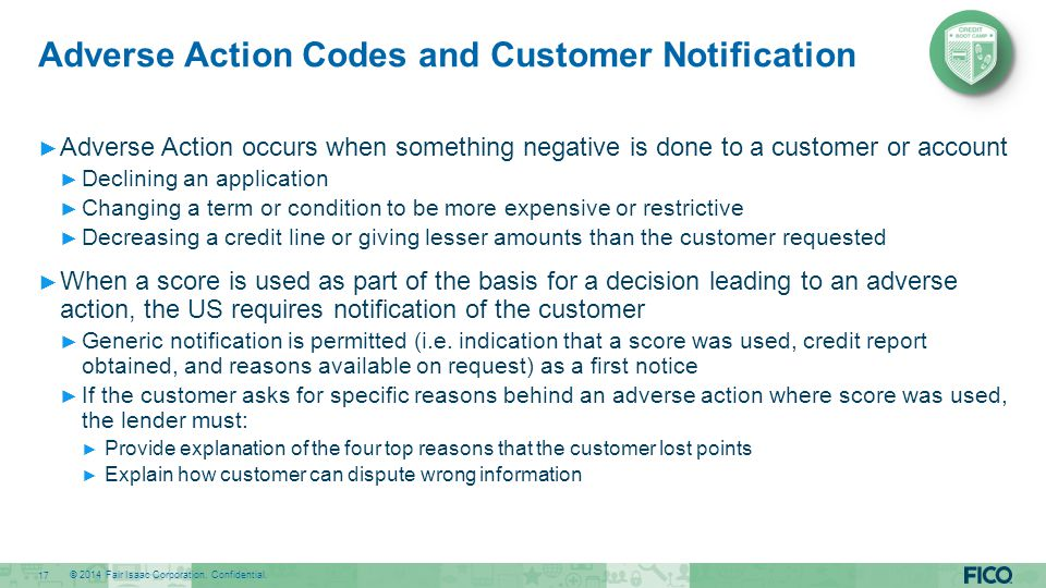 Adverse Action Codes and Customer Notification