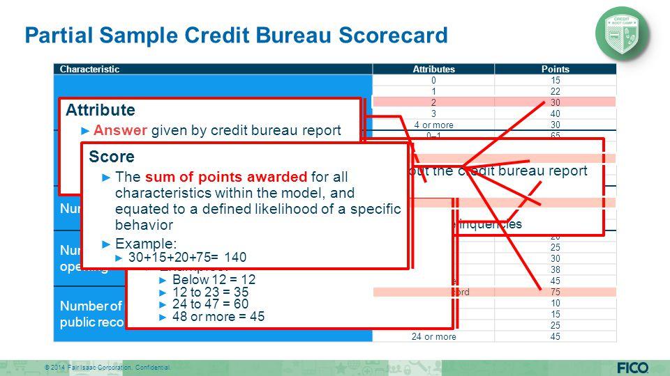 Partial Sample Credit Bureau Scorecard
