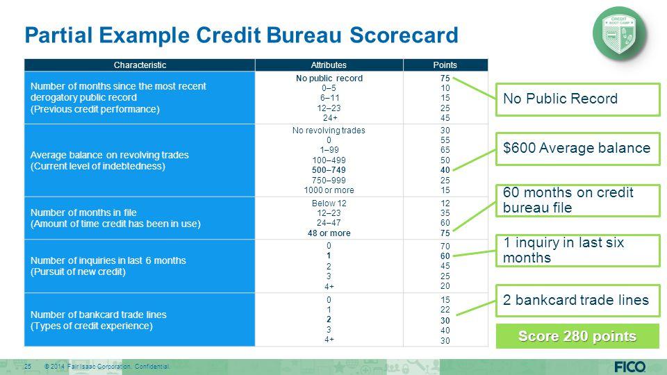 Partial Example Credit Bureau Scorecard