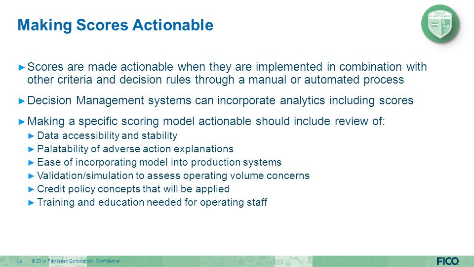 Making Scores Actionable