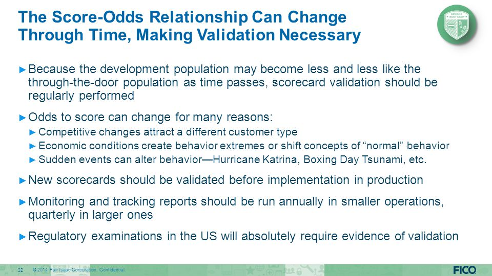 The Score-Odds Relationship Can Change Through Time, Making Validation Necessary