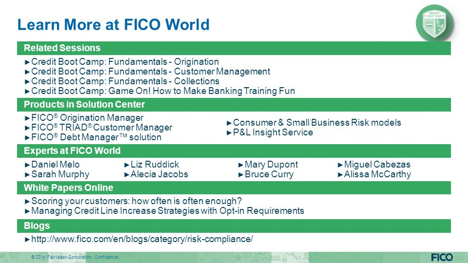 Learn More at FICO World